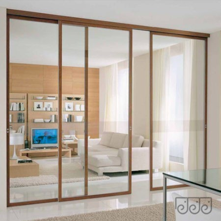 Межкомнатная раздвижная перегородка прозрачное стекло