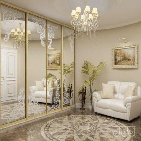 Дверь купе Матовый рисунок на зеркале