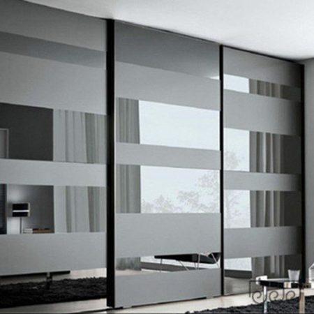 Двери купе графитовое зеркало матированное